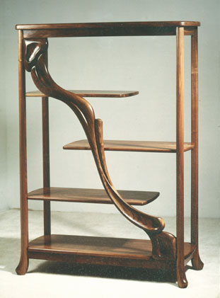 carved walnut etagere